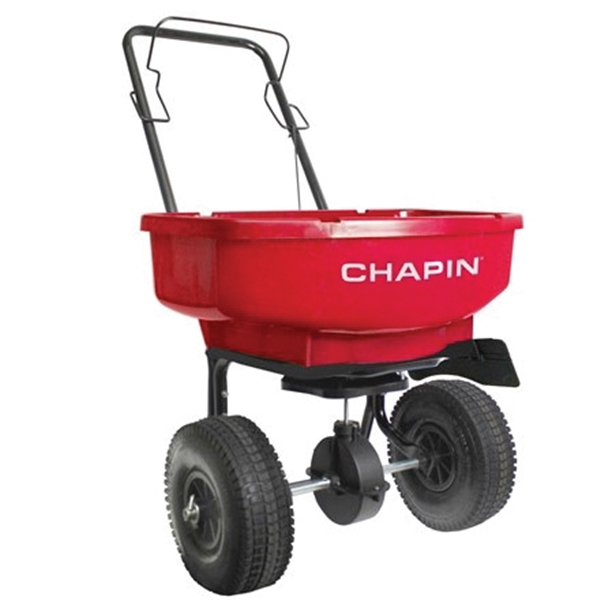 Picture of CHAPIN 81000A Residential Turf Spreader, 80 lb Capacity, Steel Frame, Poly Hopper, Pneumatic Wheel