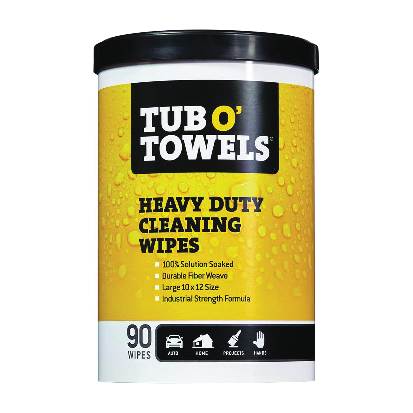 Picture of Tub O'Towels TW90 Cleaning Wipes, 12 in L, 10 in W, Light Citrus, 90