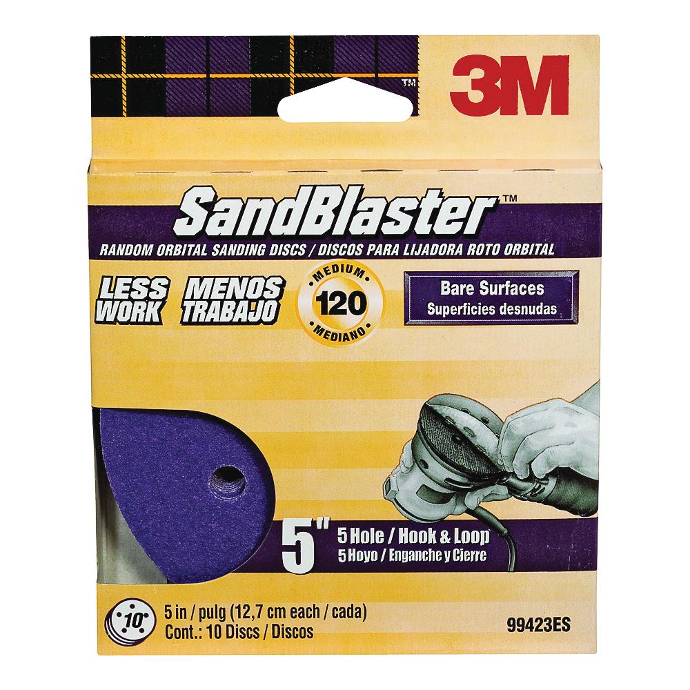 Picture of 3M SandBlaster 99423ES Sanding Disc, 5 in Dia, Coated, 120 Grit, Cubitron Mineral Abrasive, Fiber Backing