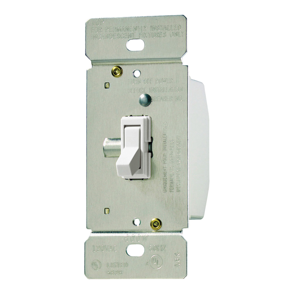 Picture of Eaton Wiring Devices TI061-W-K Toggle Dimmer, 120 V, 600 W, Halogen, Incandescent Lamp, 3-Way, White
