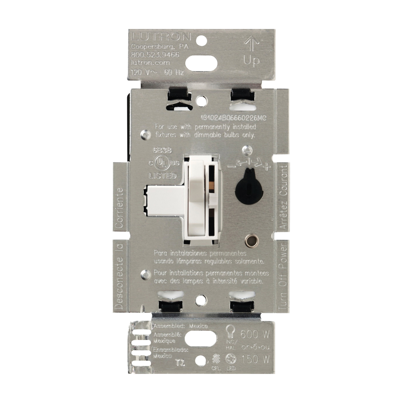 Picture of Lutron Ariadni TGCL-153PH-WH Dimmer, 1.25 A, 120 V, 150 W, CFL, Halogen, Incandescent, LED Lamp, 3-Way, White