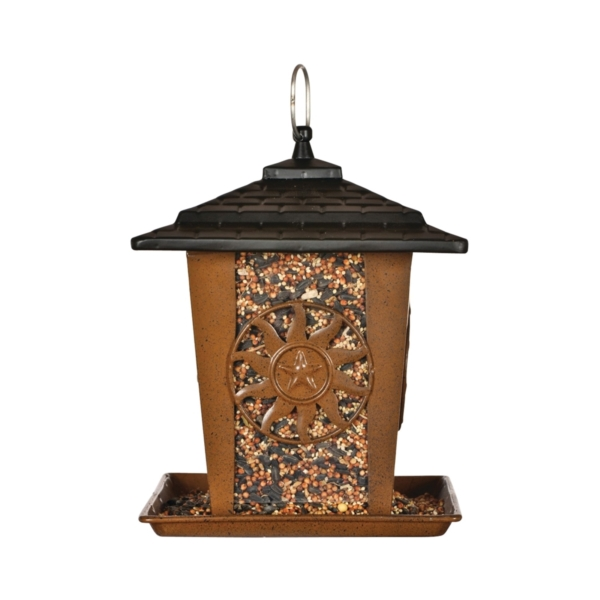 Picture of Perky-Pet 370 Seed Lantern Feeder, Sun, Star, 3 lb, Metal, Brown, 10.26 in H, Hanging/Pole Mounting