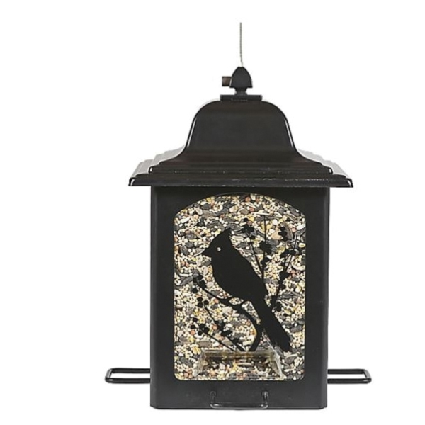 Picture of Perky-Pet 363 Lantern Bird Feeder, Screen-Printed Birds and Berries, 3 lb, 4-Port/Perch, Black, Hook Mounting