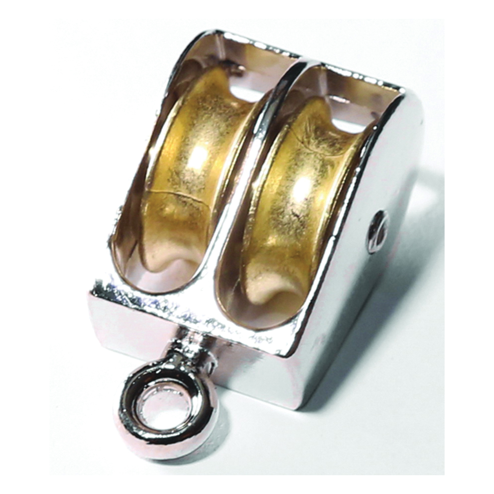 Picture of BARON 0176ZD-1 Double Rope Pulley, 1/4 in Rope, 55 lb Working Load, 1 in Sheave, Brass/Copper/Nickel