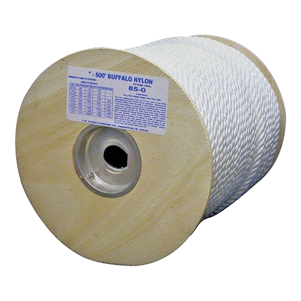 Picture of T.W. Evans Cordage 85-070 Rope, 1/2 in Dia, 600 ft L, 704 lb Working Load, Nylon, White, Spool