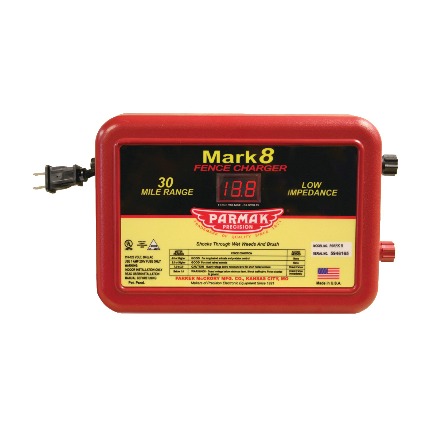 Picture of Parmak MARK 8/7 Electric Fence Charger, 1.1 to 4.9 J Output Energy, 110/120 V
