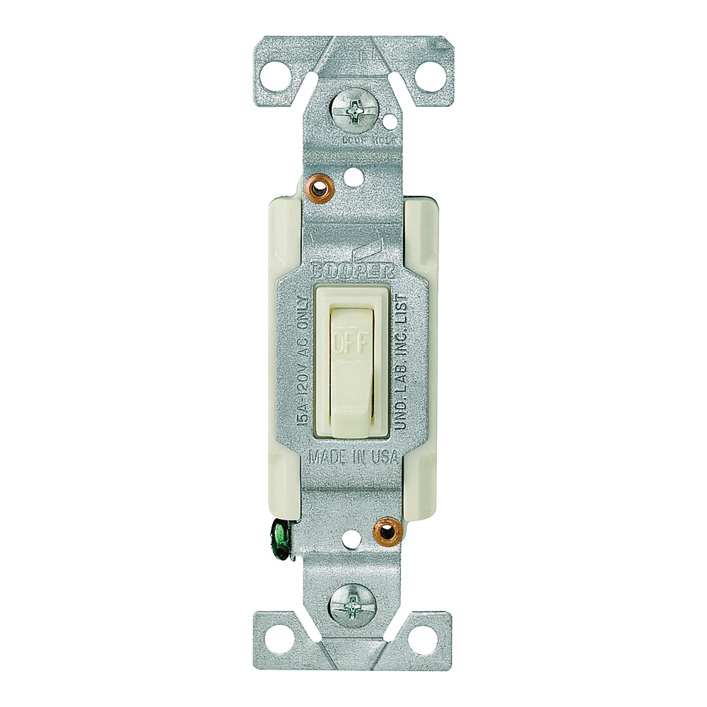 Picture of Eaton Wiring Devices 1301-7V10 Toggle Switch, 15 A, 120 V, Polycarbonate Housing Material, Ivory