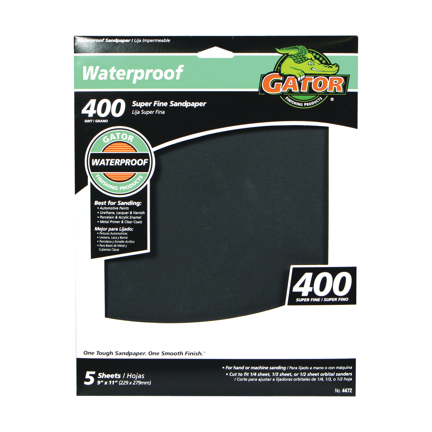 Picture of Gator 4472 Sanding Sheet, 9 in L, 11 in W, 400 Grit, Very Fine, Silicone Carbide Abrasive