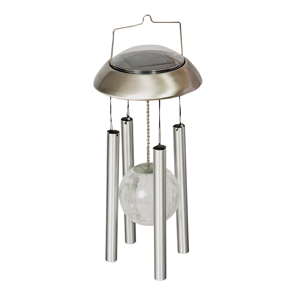 Picture of Harvest Light 830-1306 Solar Wind Chime with Crackleball Center, Blue/Green/Red
