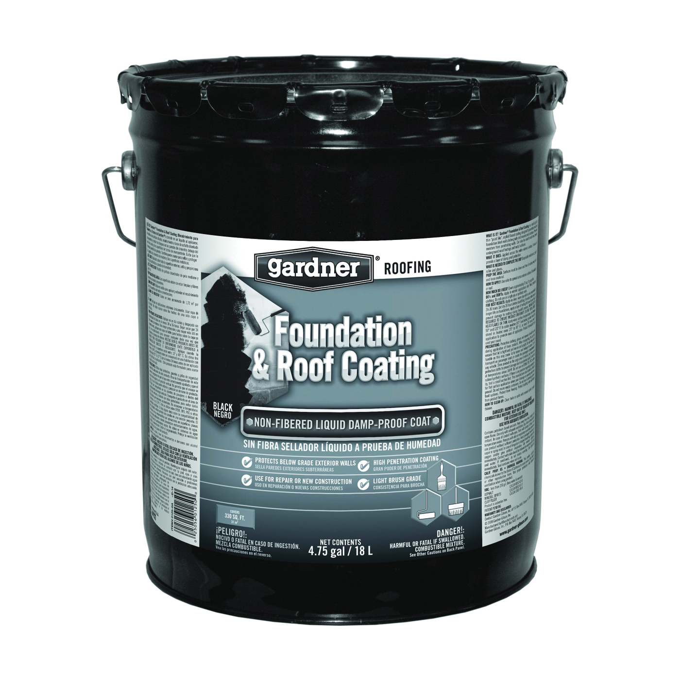 Picture of Gardner 0125-GA Foundation and Roof Coating, Black, Liquid, 5 gal Package, Pail