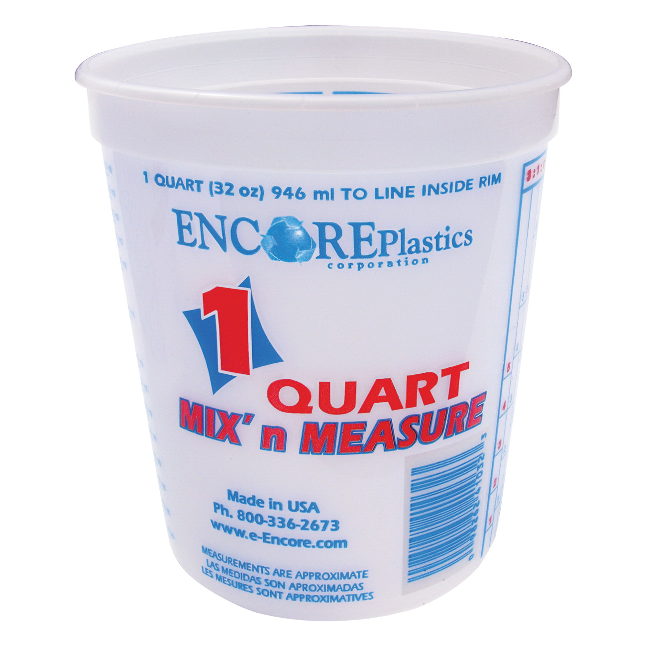 Picture of ENCORE Plastics 300343 Paint Container, 1 qt Capacity, Plastic