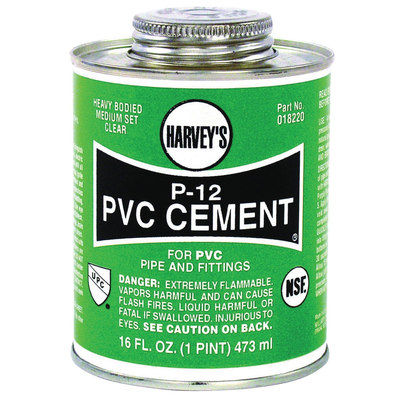 Picture of HARVEY 018220-12 Solvent Cement, 16 oz, Can, Liquid, Clear