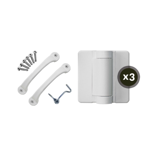 Picture of SCREEN TIGHT SDHWT Storm Door Hardware Kit, Poly, White, For: Wood Screen Doors
