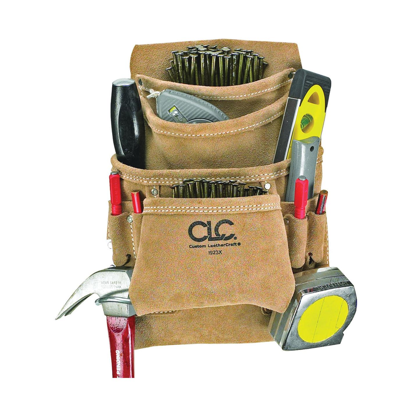Picture of CLC Tool Works I923X Nail and Tool Bag, 10 -Pocket, Suede Leather, Tan, 20-1/2 in W, 12 in H