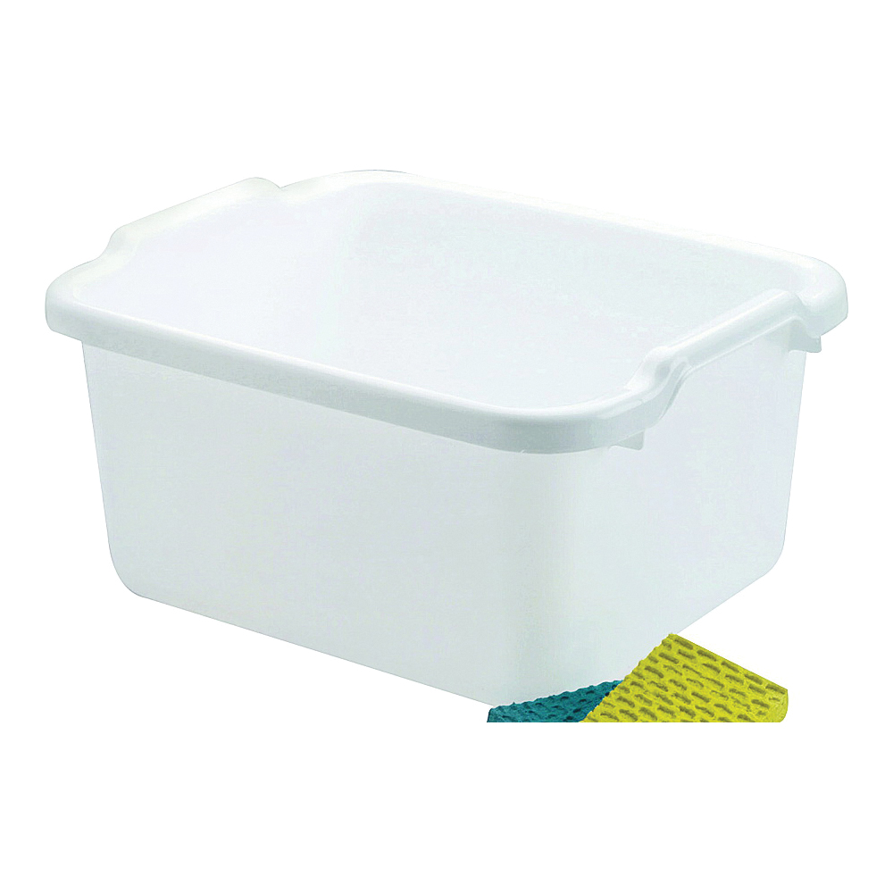 Picture of Rubbermaid 2970ARWHT Dish Pan, 15.6 qt Volume, 7.8 in L, 15.23 in W, 12-15/32 in H, Plastic, White