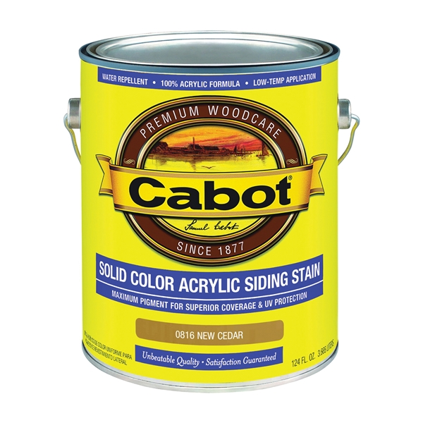 Picture of Cabot 800 Series 0816 Solid Color Siding Stain, Natural Flat, New Cedar, Liquid, 1 gal, Can