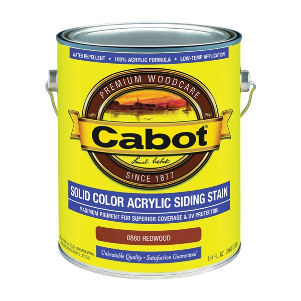 Picture of Cabot 800 Series 0880 Solid Color Siding Stain, Natural Flat, Redwood, Liquid, 1 gal, Can