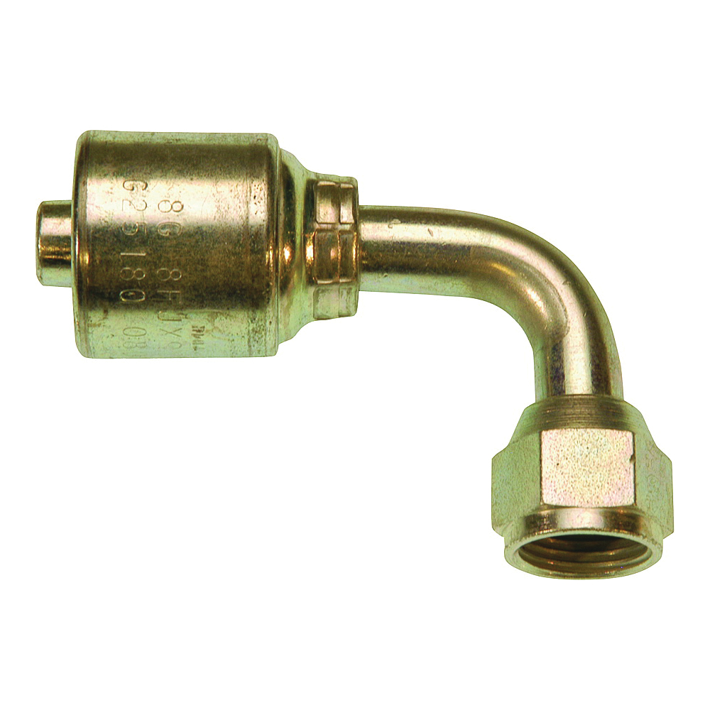 Picture of GATES G25180-0808 Coupling, 1/2 in, Female Flare Swivel, 90 deg Angle, Steel, Zinc