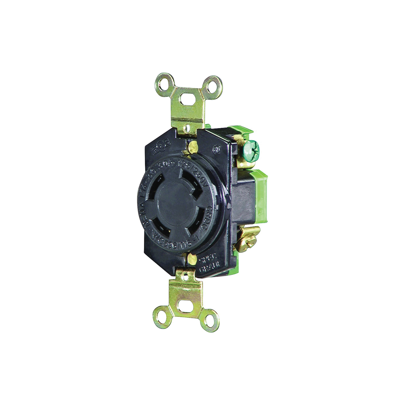 Picture of Eaton Wiring Devices L1430R Single Receptacle, 3-Pole, 125/250 V, 30 A, Back, Side Wiring, NEMA L14-30, Black