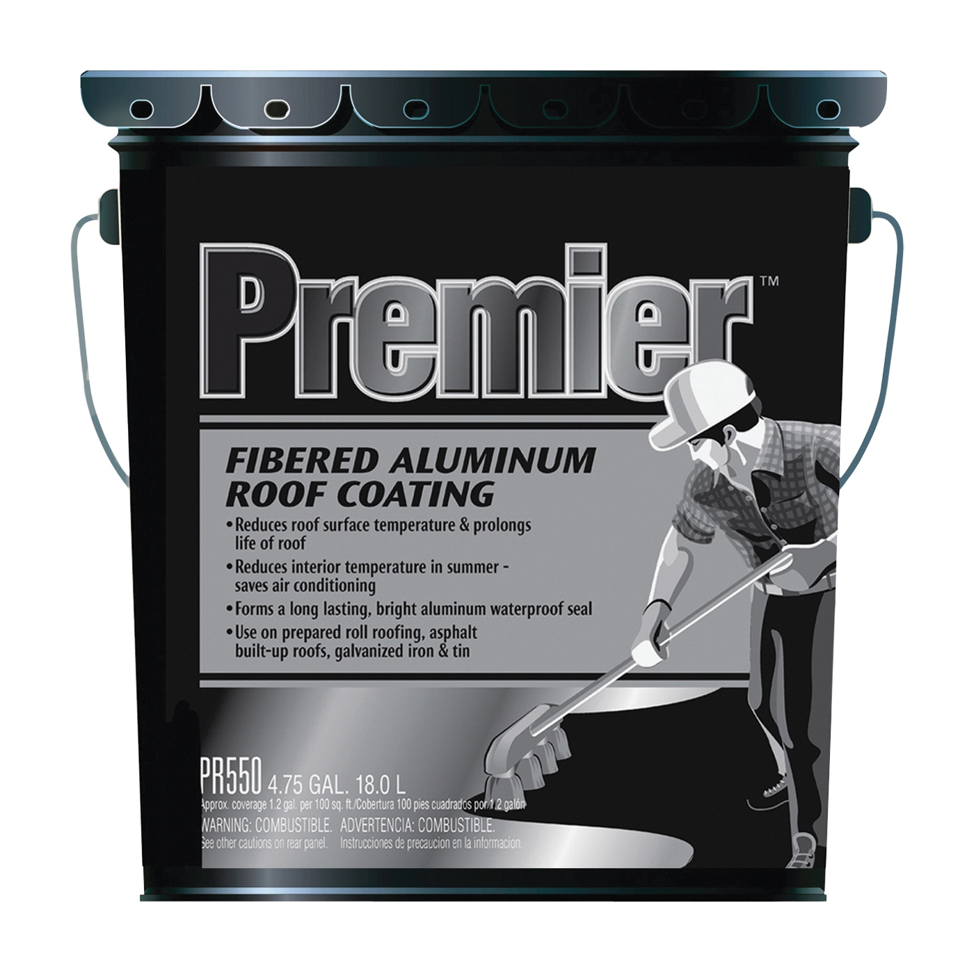 Picture of Henry PR550070 Aluminum Roof Coating, Black, 18 L, Pail, Liquid