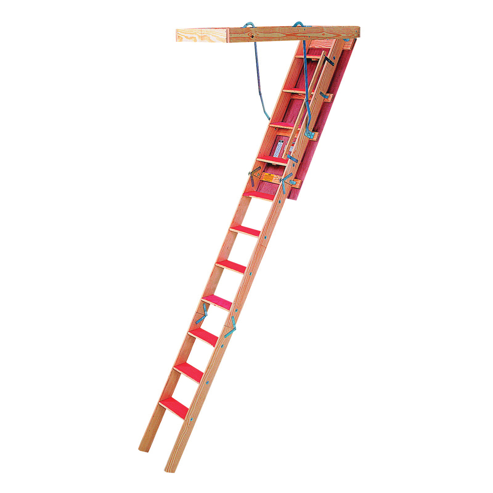 Picture of Louisville Champion Series CS224P Attic Ladder, 7 ft to 8 ft 9 in H Ceiling, 22-1/2 x 54 in Ceiling Opening, 9-Step