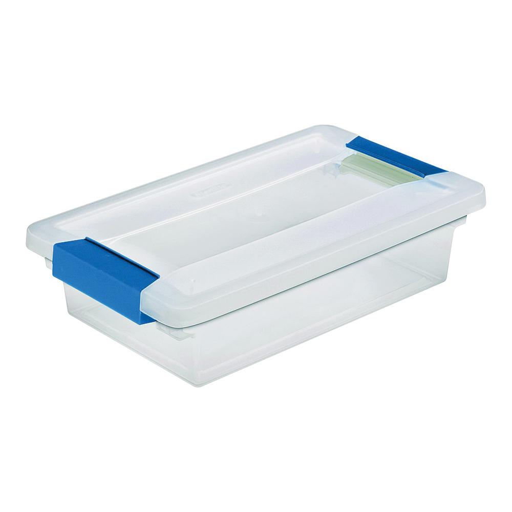 Picture of Sterilite 19618606 Clip Box, Plastic, Blue Aquarium/Clear, 11 in L, 6-5/8 in W, 2-3/4 in H