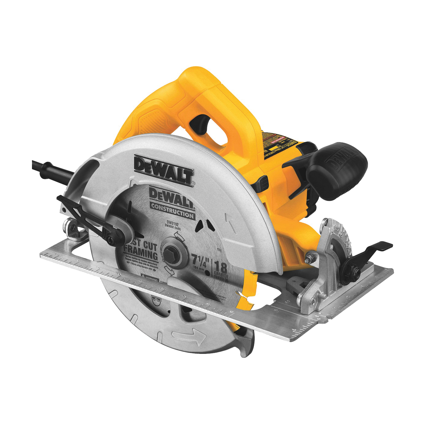 Picture of DeWALT DWE575 Circular Saw, 120 V, 15 A, 1950 W, 7-1/4 in Dia Blade, 5/8 in Arbor, 57 deg Bevel