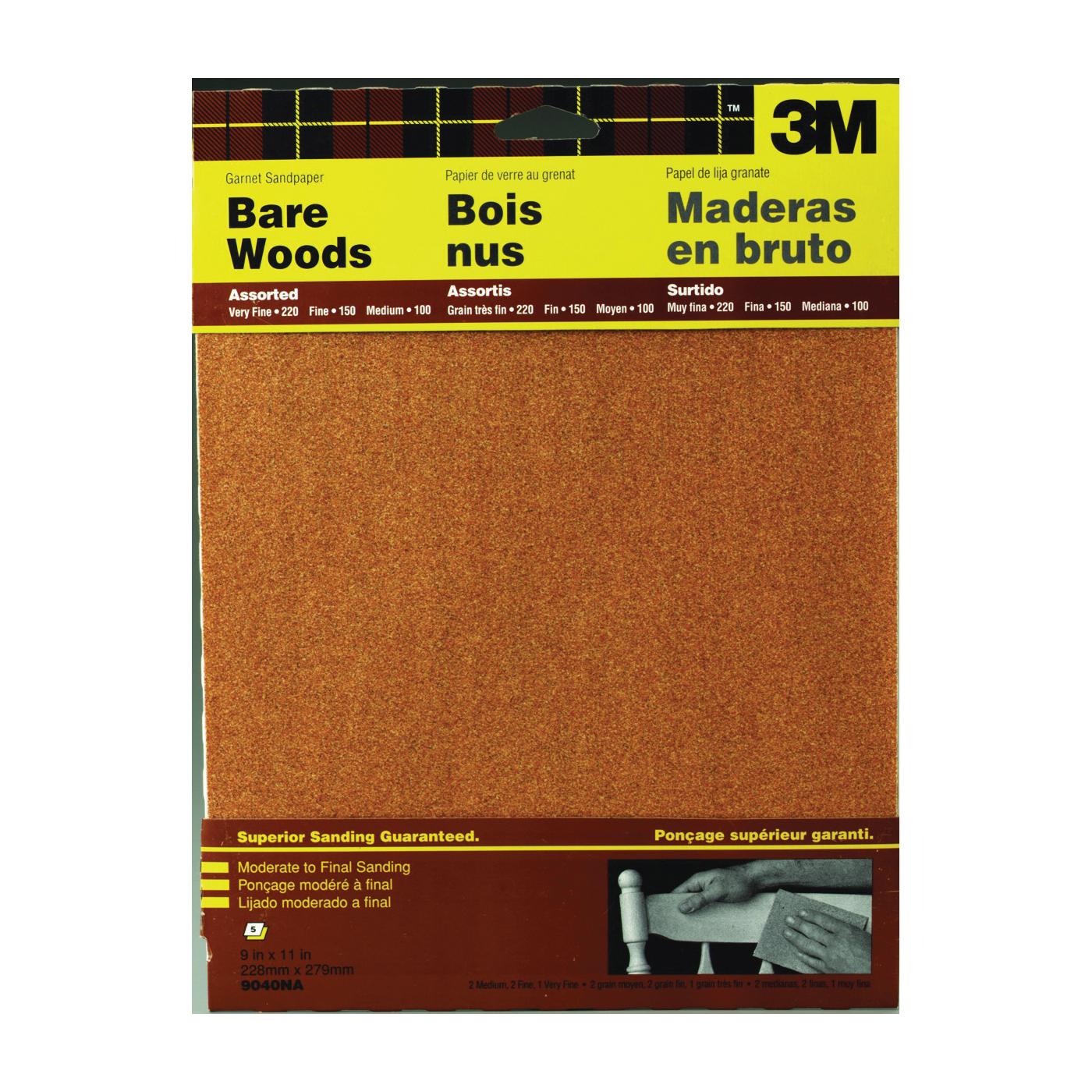 Picture of 3M 9040 Sanding Sheet, 11 in L, 9 in W, Garnet Abrasive