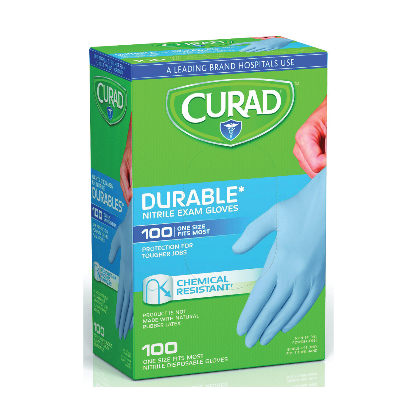 Picture of CURAD CUR4145R Exam Gloves, One-Size, Beaded Cuff, Nitrile, Blue
