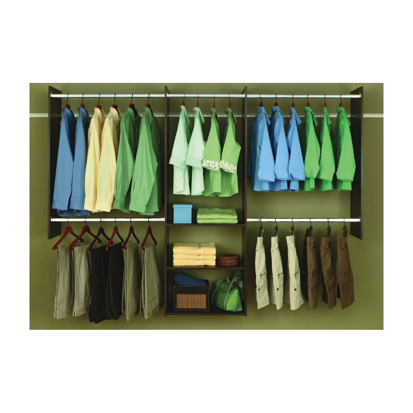 Picture of Easy Track RB1460-T Deluxe Starter Closet, 48 to 96 in W, 84 in H, 3-Shelf