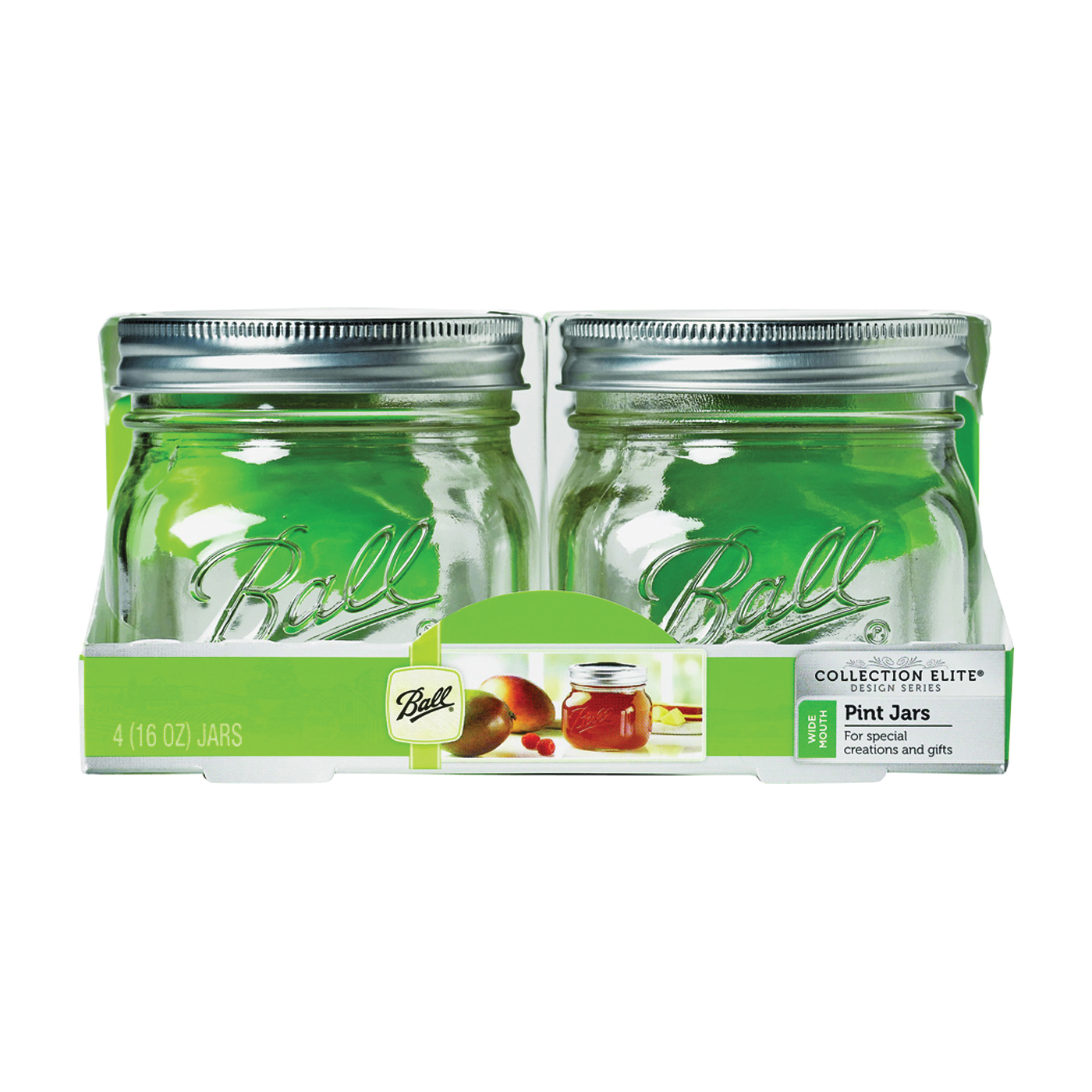 Picture of Ball Collection Elite Series 1440061180 Mason Jar, 16 oz Capacity, Glass, Silver Cap/Lid