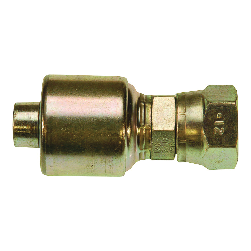 Picture of GATES MegaCrimp G25170-0606 Hose Coupling, 9/16-18, Crimp x JIC, Straight Angle, Steel, Zinc