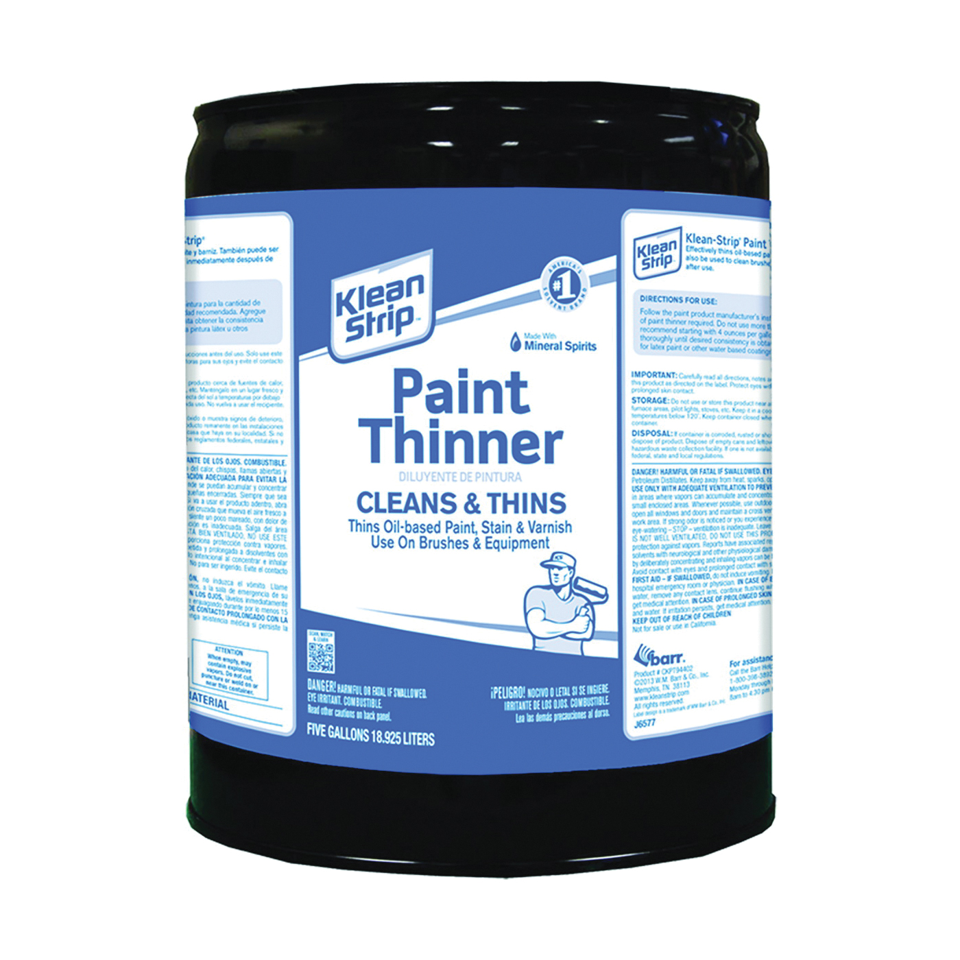 Picture of Klean Strip CKPT94402 Paint Thinner, Liquid, Free, Clear, Water White, 5 gal, Can