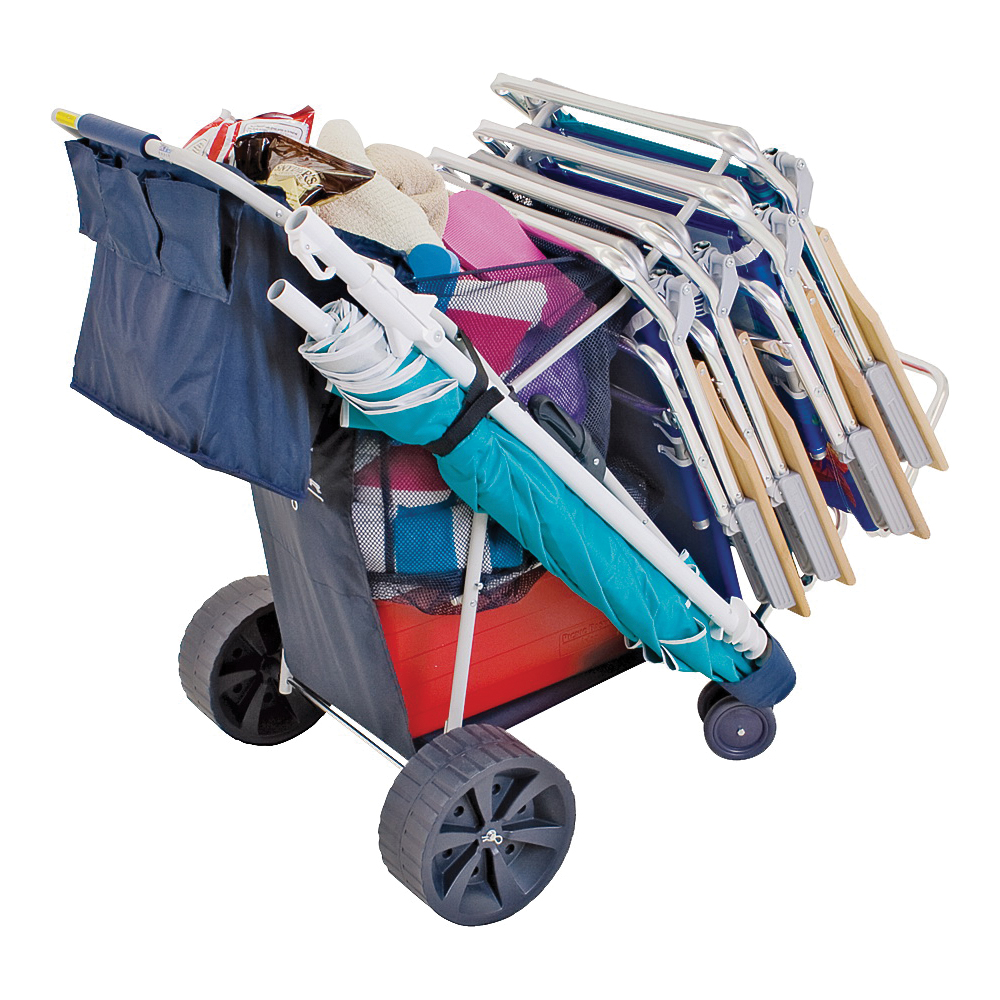 Picture of Rio Brands WWC6W-1822 Deluxe Beach Cart, 19 in Closed and 27 in Opened OAW, 7.25 in Closed and 40.5 in Opened OAD
