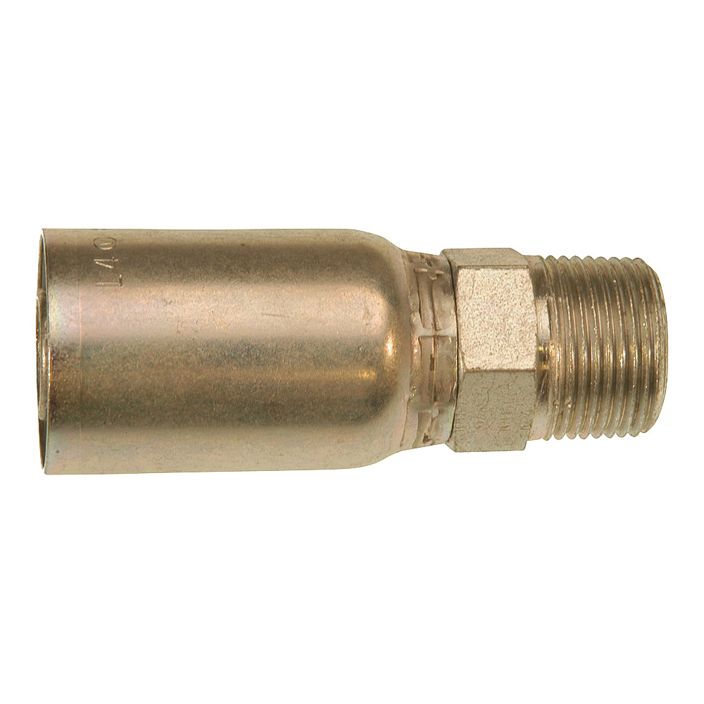 Picture of GATES MegaCrimp G25100-0606 Hose Coupling, 3/8-18, Crimp x NPTF, Straight Angle, Steel, Zinc