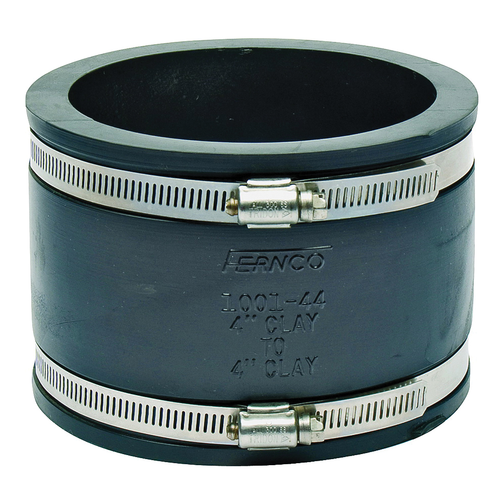 Picture of FERNCO P1001-44 Flexible Pipe Coupling, 4 x 4 in, PVC, 4.3 psi Pressure
