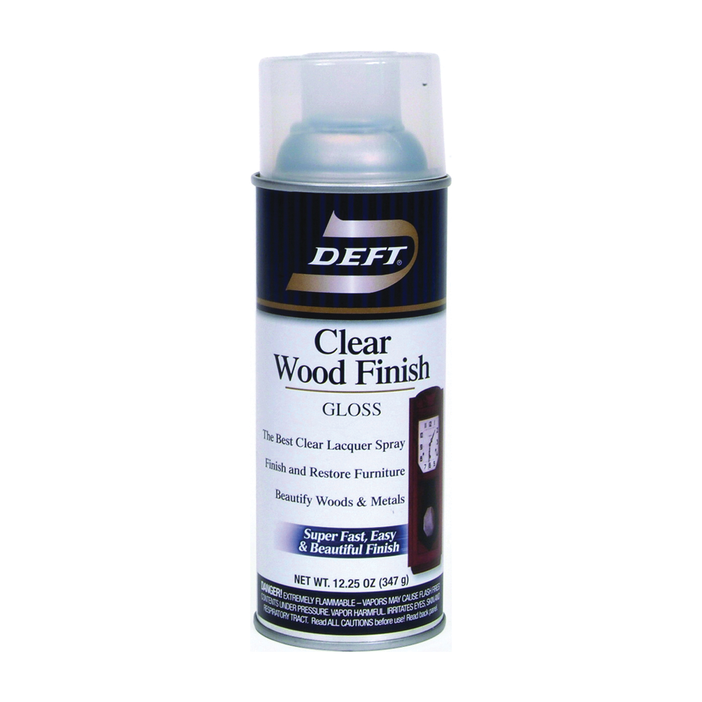 Picture of DEFT 010-13 Brushing Lacquer, Gloss, Liquid, Clear, 12 oz, Aerosol Can