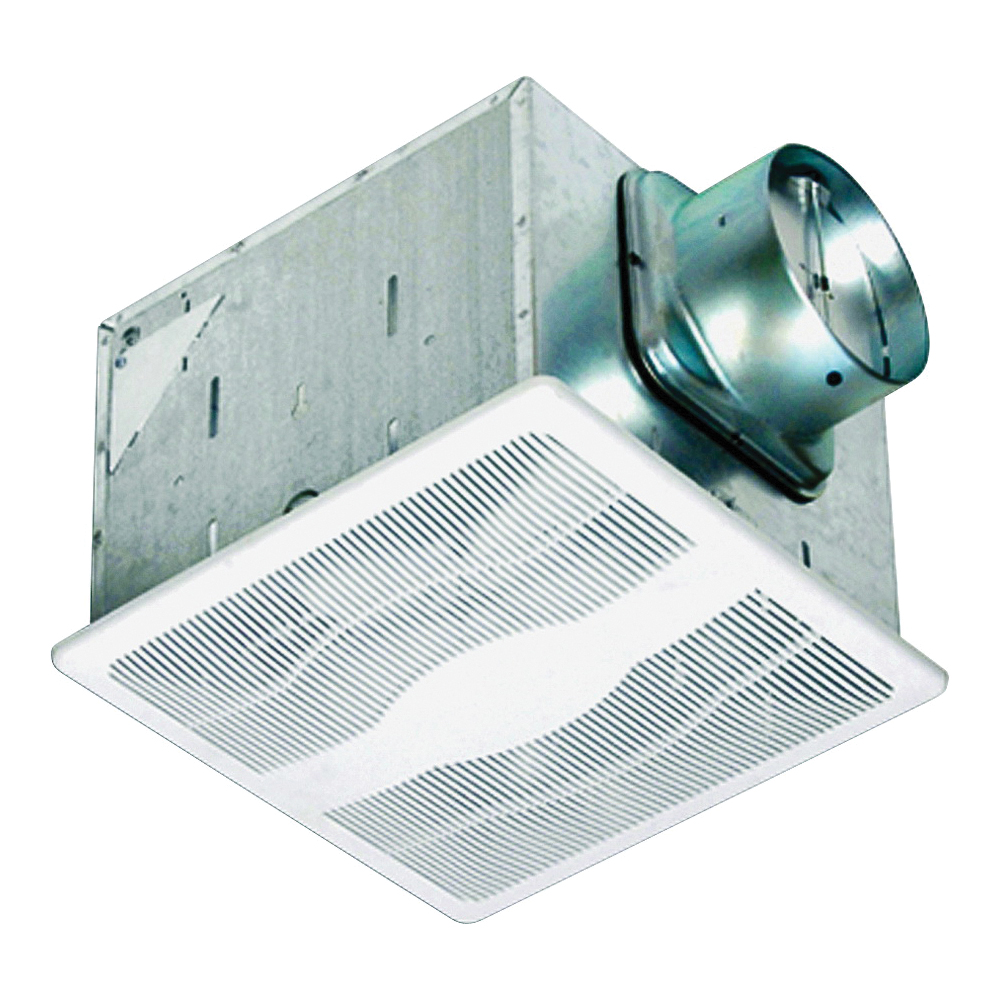 Picture of Air King ES80S Exhaust Fan, 12-3/4 in L, 12-7/8 in W, 0.3 A, 115/120 V, 1-Speed, 80 cfm Air, Steel, White