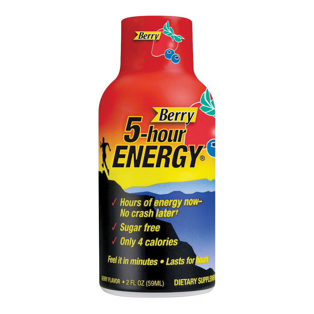 Picture of 5-hour ENERGY 500181 Sugar-Free Energy Drink, Liquid, Berry Flavor, 1.93 oz Package, Bottle