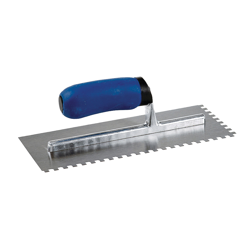 Picture of M-D 49112 Tile Installation Trowel, 11 in L, 4-1/2 in W, Square Notch, Comfort-Grip Handle