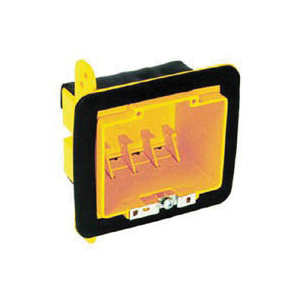 Picture of RACO 2002FBAR Vapor Barrier Box, 2-Gang, Polycarbonate, Yellow, Bracket Mounting