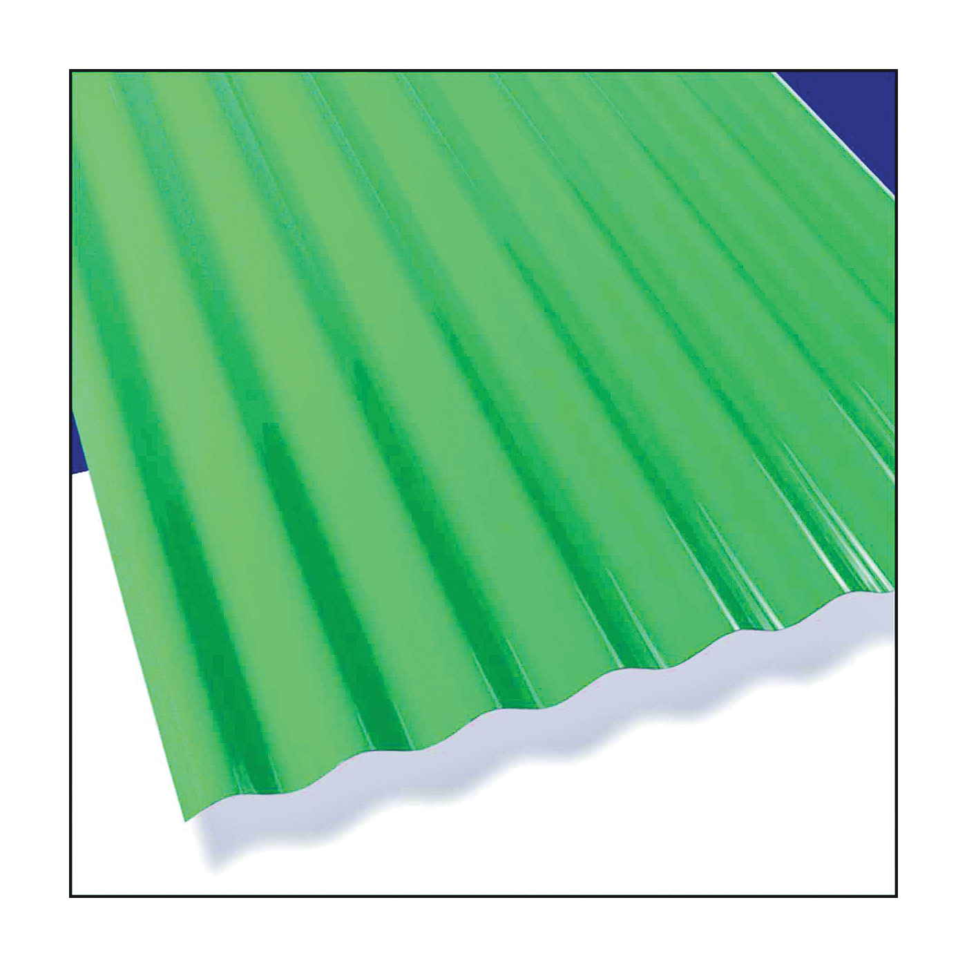Picture of Sun N Rain 106624 Corrugated Roofing Panel, 12 ft L, 26 in W, PVC, Green