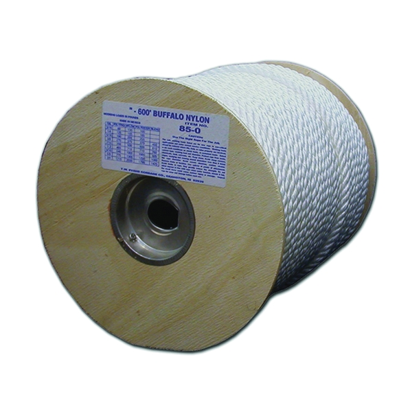 Picture of T.W. Evans Cordage 85-081 Rope, 3/4 in Dia, 120 ft L, 958 lb Working Load, Nylon, White, Spool