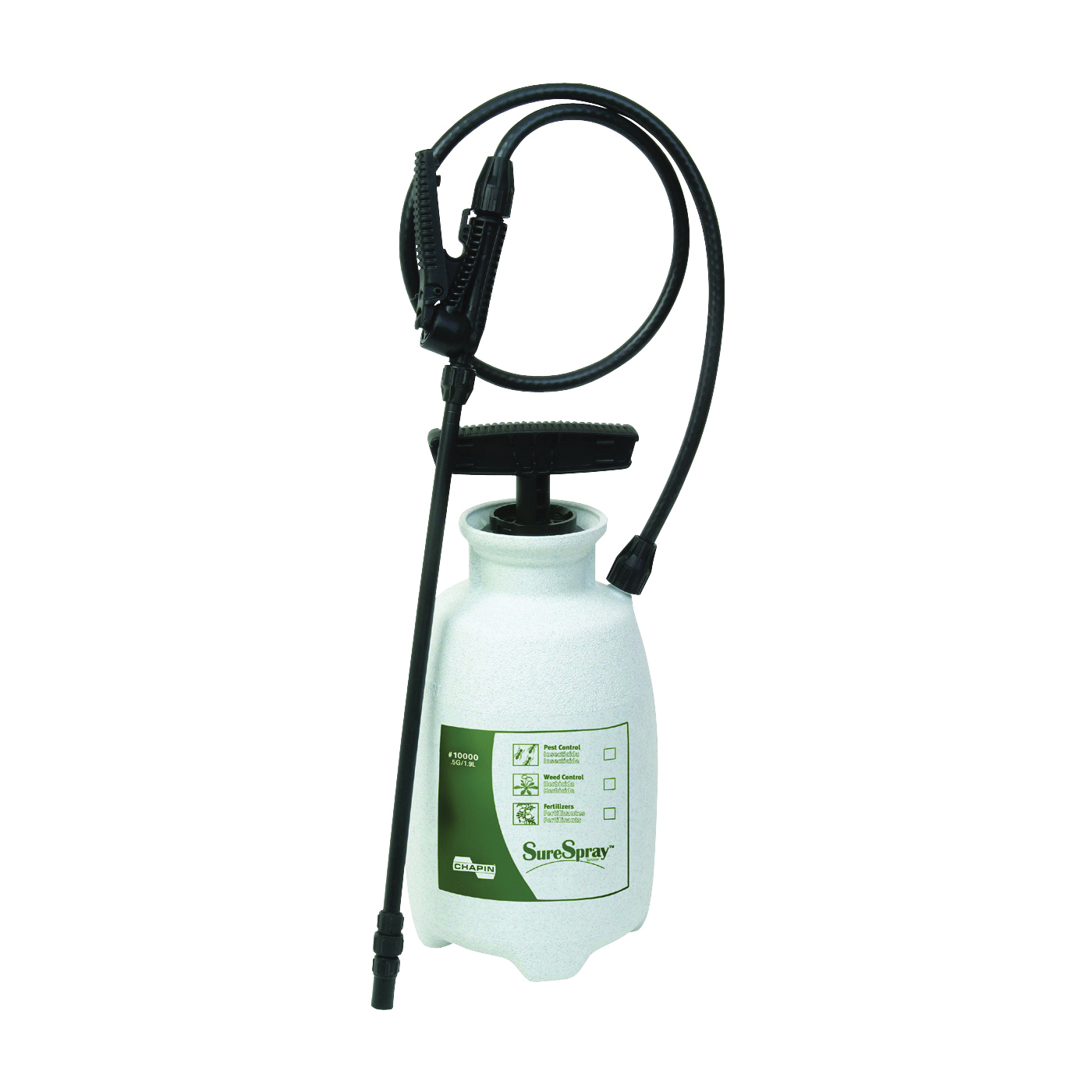Picture of CHAPIN Lawn & Garden Series 10000 Compression Sprayer, 0.5 gal Tank, Poly Tank, 34 in L Hose, White