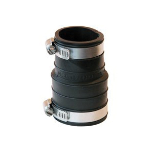 Picture of FERNCO P1059-150 Flexible Pipe Coupling, 1-1/2 in, Socket, PVC, Black, 4.3 psi Pressure