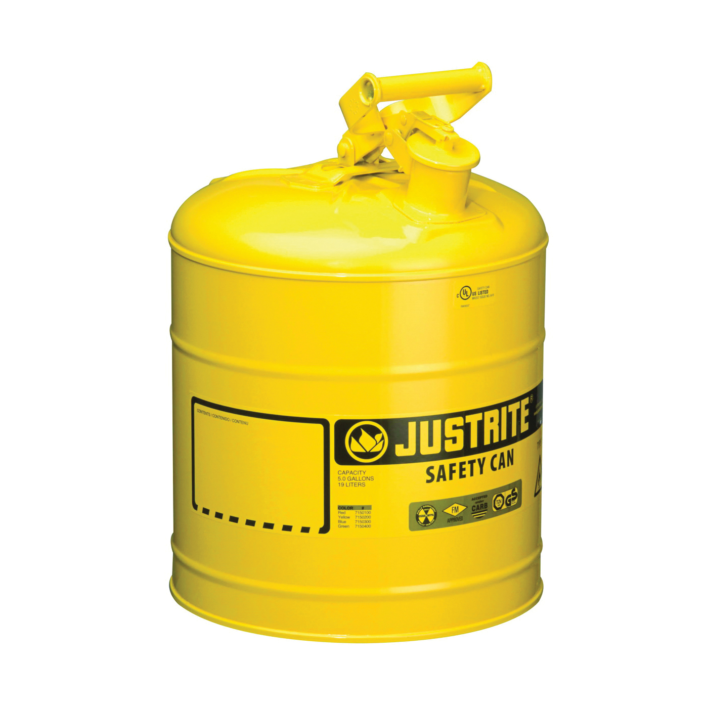 Picture of JUSTRITE 7150200 Safety Can, 5 gal Capacity, Steel, Yellow