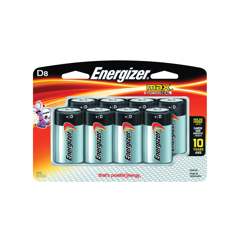 Picture of Energizer E95BP-8H Alkaline Battery, 1.5 V Battery, 18 Ah, D Battery, Zinc, Manganese Dioxide
