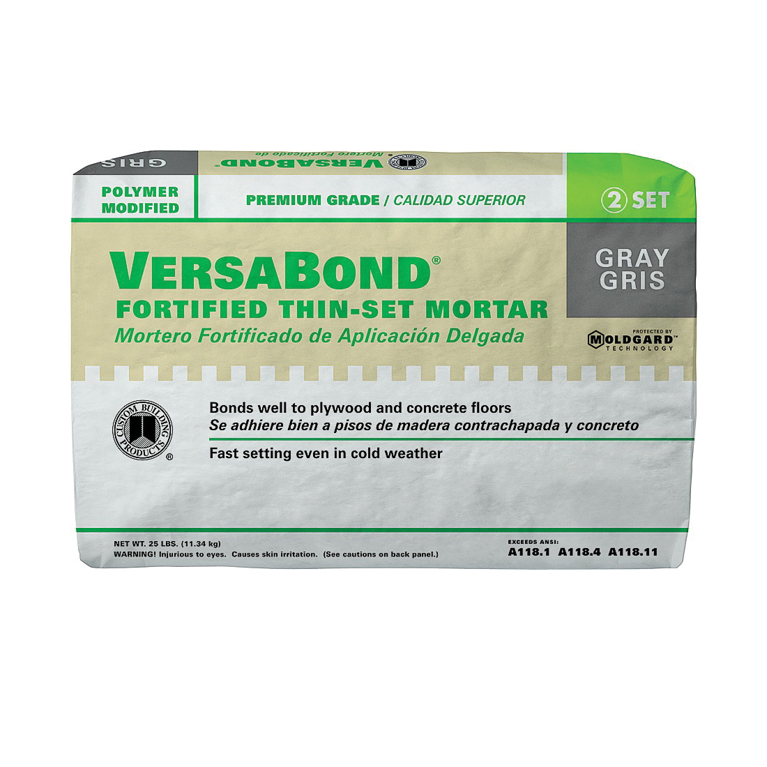 Picture of CUSTOM VersaBond Flex MTSG25 Thin-Set Mortar, Gray, Powder, 25 lb Package, Bag