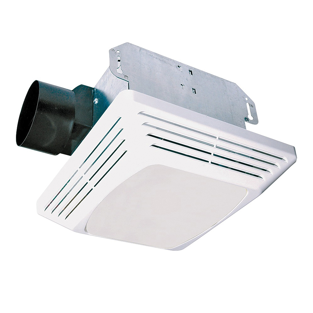 Picture of Air King ASLC50 Exhaust Fan, 1.6 A, 120 V, 50 cfm Air, 3 Sones, CFL, Fluorescent Lamp, 4 in Duct, White