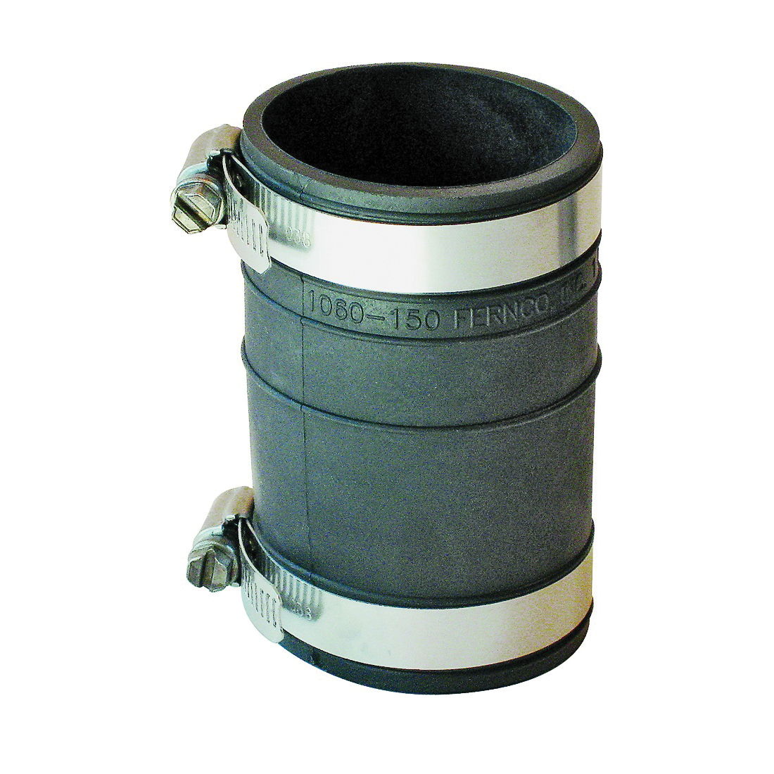 Picture of FERNCO P1060-150 Flexible Pipe Coupling, 1-1/2 in, Socket, PVC, Black, 4.3 psi Pressure